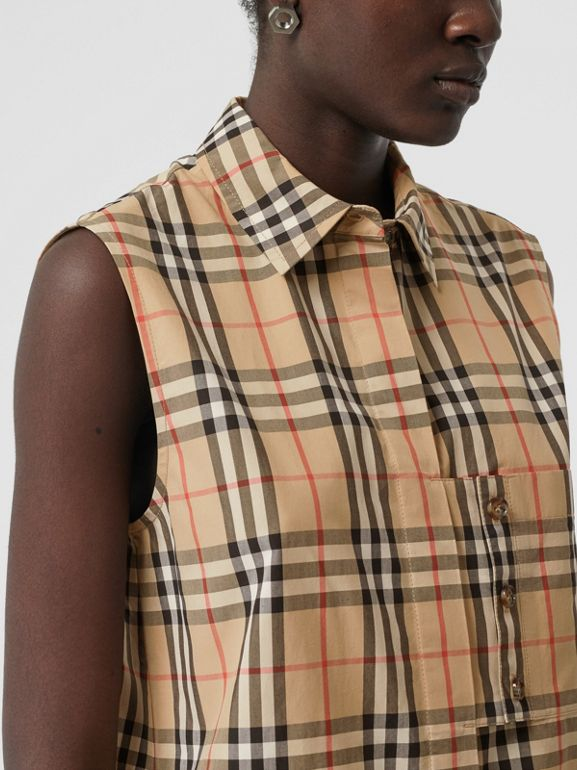 Sleeveless Vintage Check Cotton Poplin Shirt in Archive Beige - Women | Burberry - cell image 1