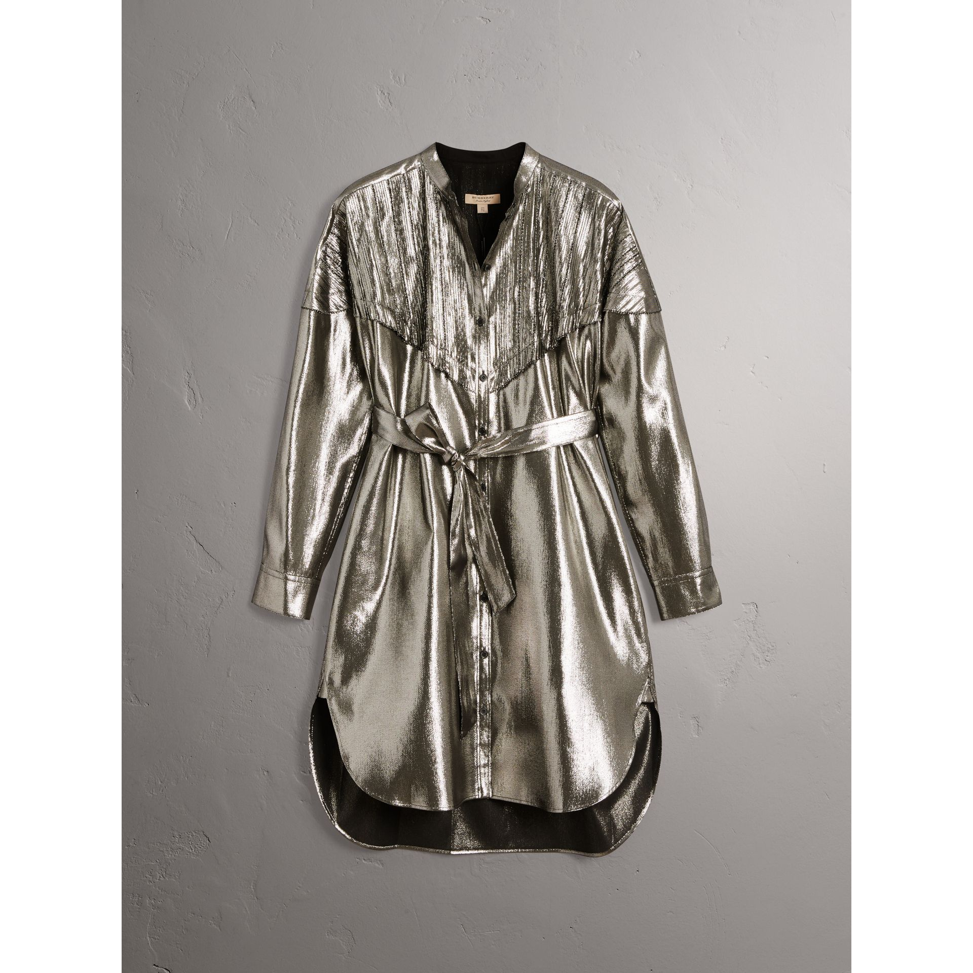 Pintuck Detail Silk Lamé Shirt Dress in Silver - Women | Burberry - gallery image 3