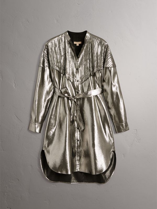 Pintuck Detail Silk Lamé Shirt Dress in Silver - Women | Burberry - cell image 3