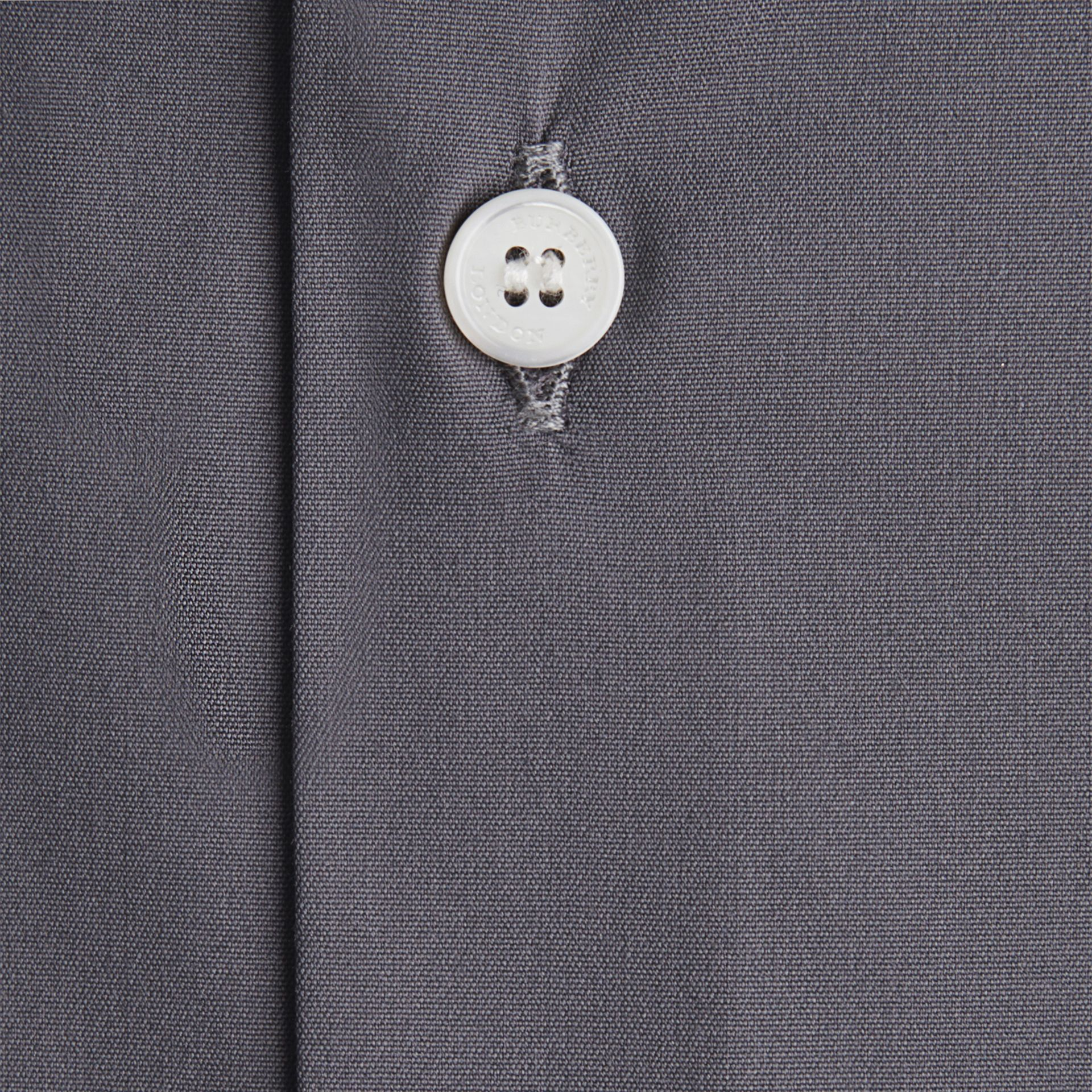 Slim Fit Stretch Cotton Shirt in City Grey - gallery image 2