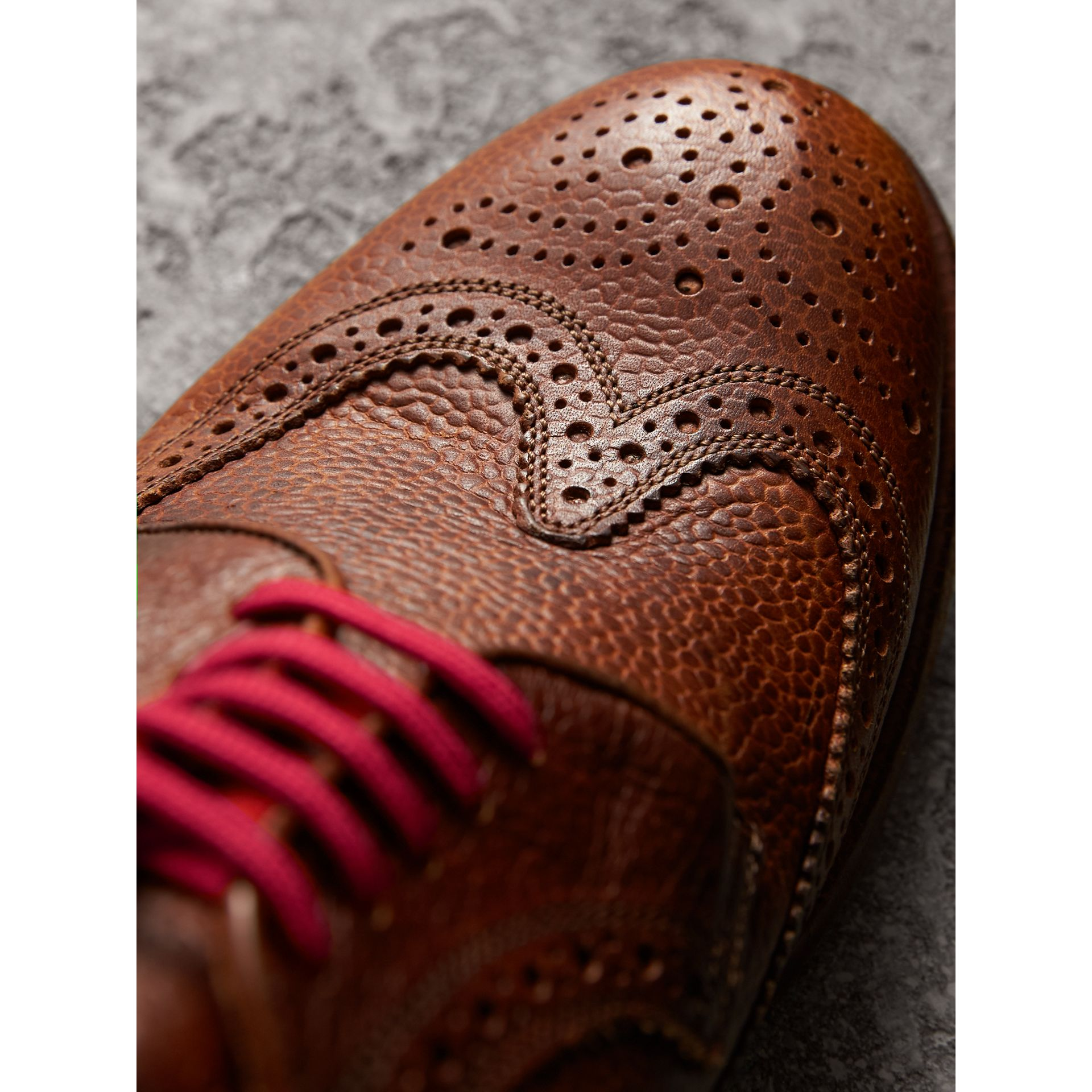 Grainy Leather Brogues with Bright Laces in Vintage Chestnut - Men | Burberry United States - gallery image 1
