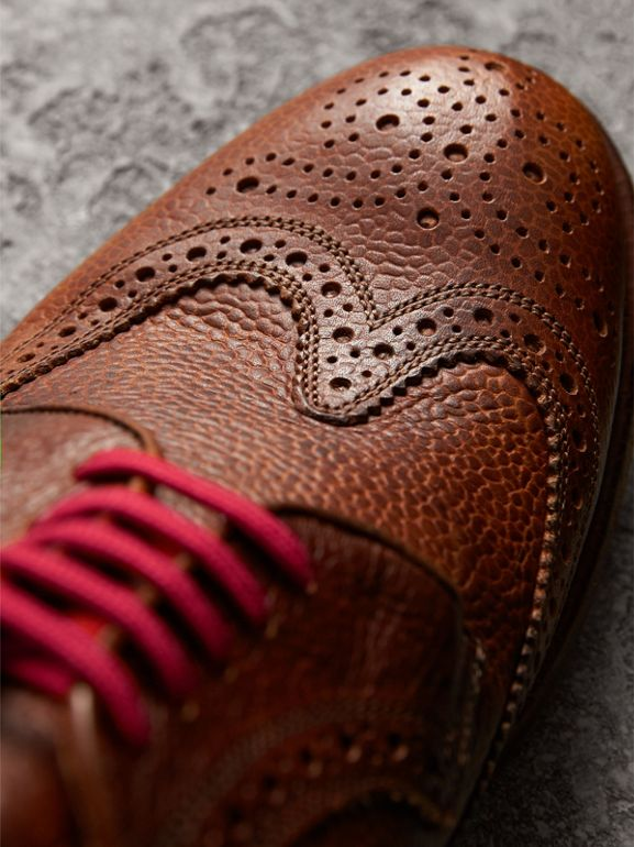 Grainy Leather Brogues with Bright Laces in Vintage Chestnut - Men | Burberry United Kingdom - cell image 1
