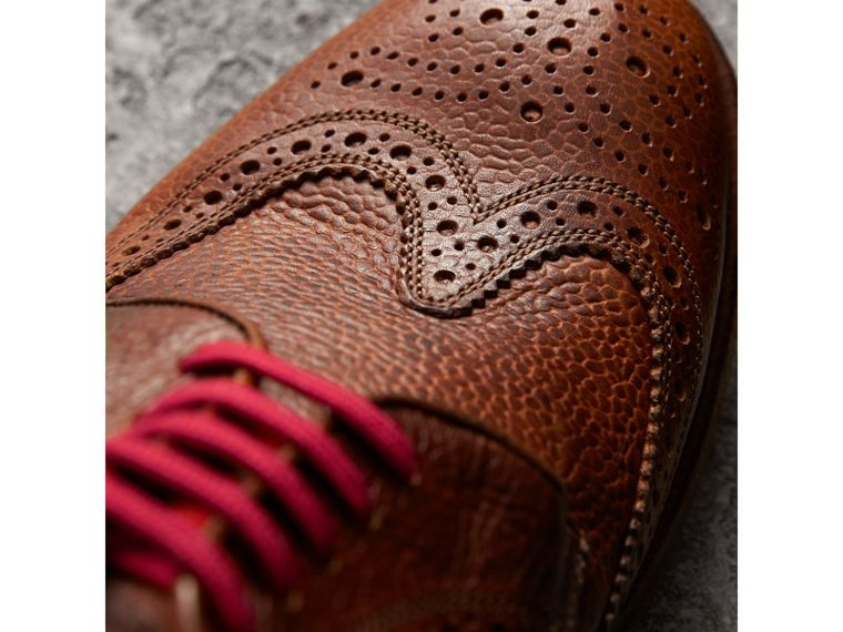 Grainy Leather Brogues with Bright Laces in Vintage Chestnut - Men | Burberry United States - cell image 1