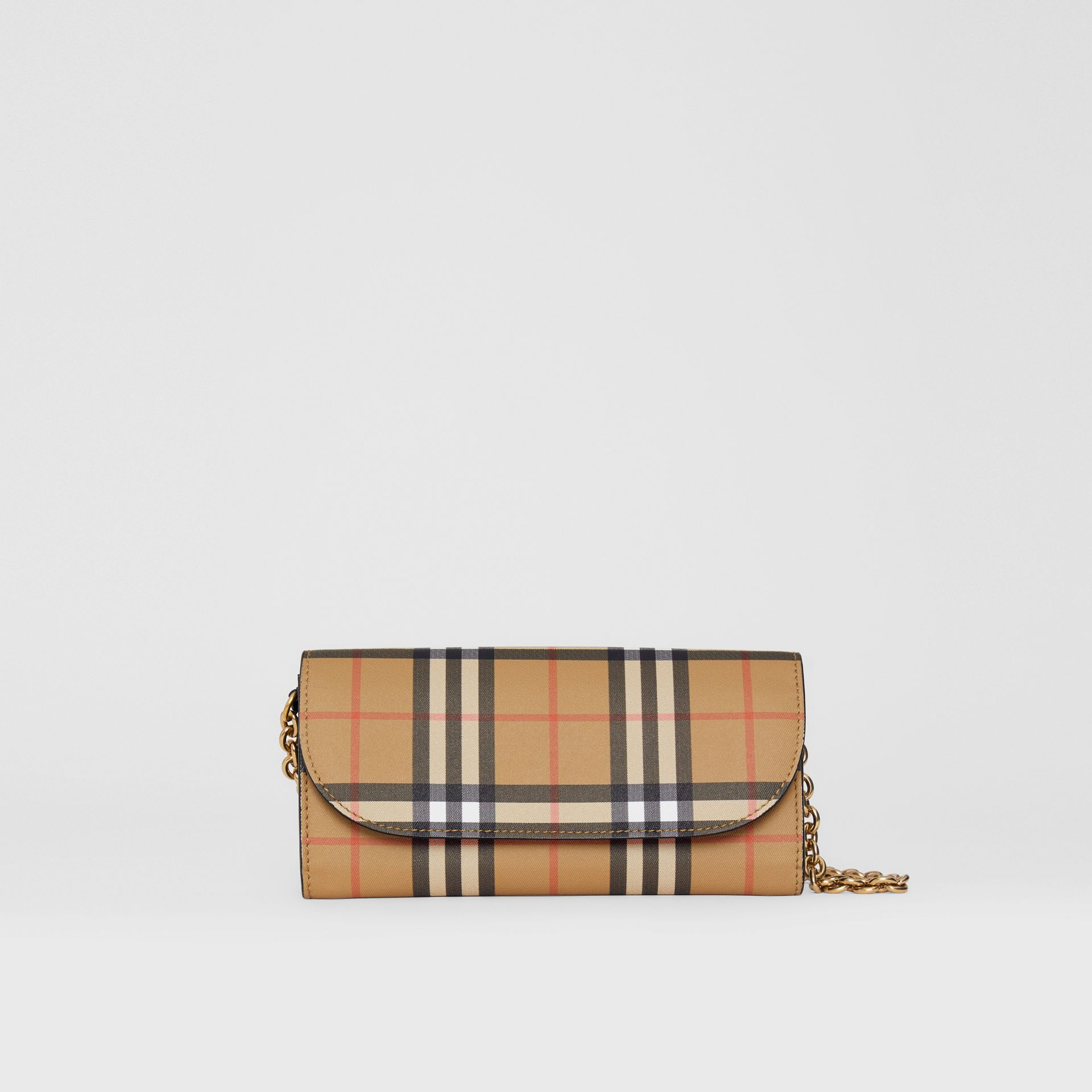 Vintage Check and Leather Wallet with Chain in Black - Women | Burberry Canada - gallery image 0