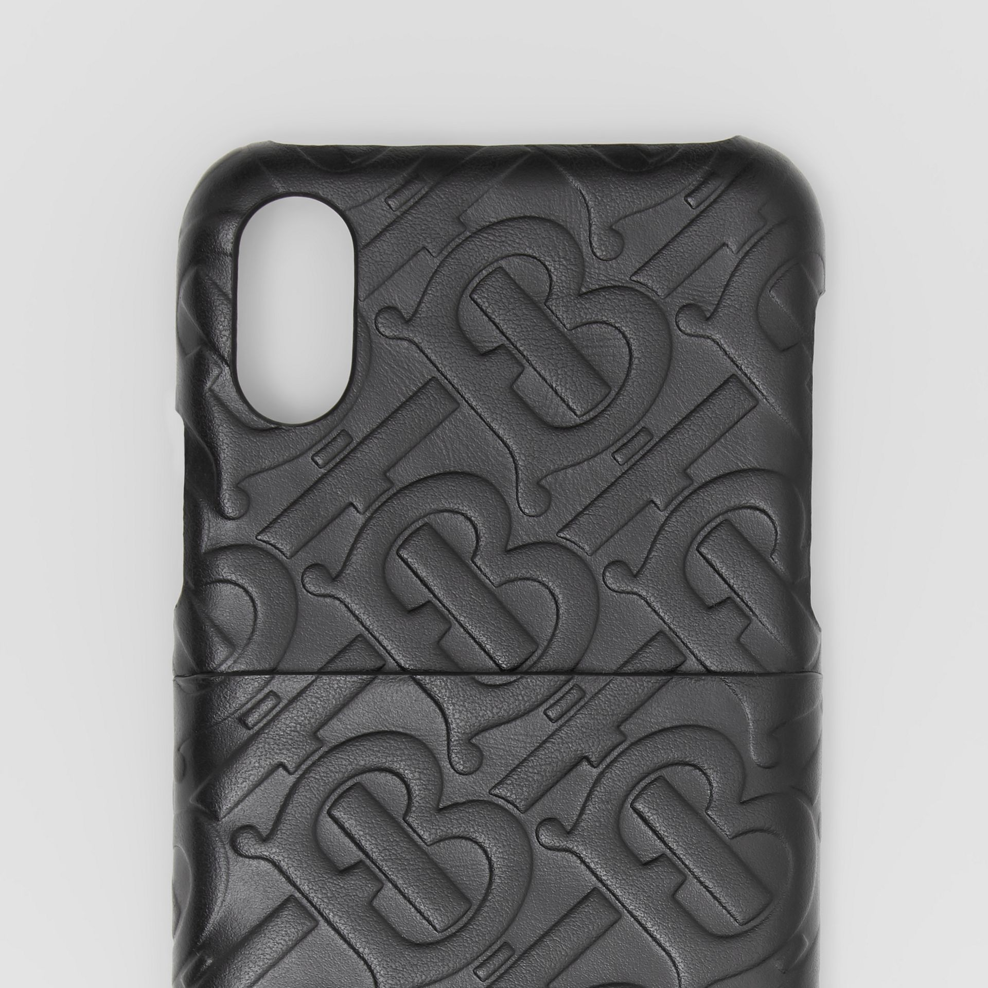Monogram Leather iPhone X/XS Case in Black - Men | Burberry - gallery image 1