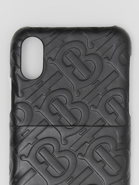 Monogram Leather iPhone X/XS Case in Black - Men | Burberry - cell image 1