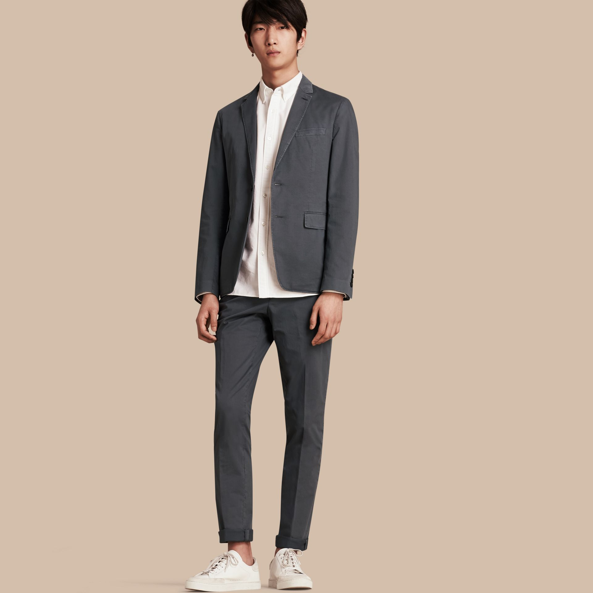 Mid grey Slim Fit Stretch-cotton Blazer Mid Grey - gallery image 1