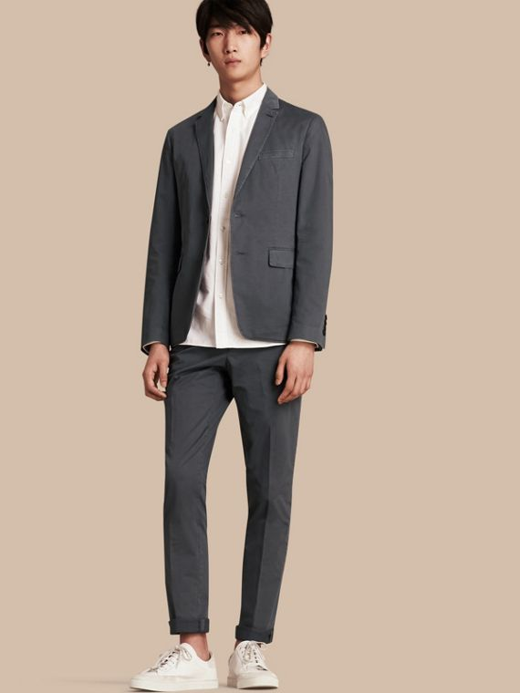 Slim Fit Stretch-cotton Blazer Mid Grey