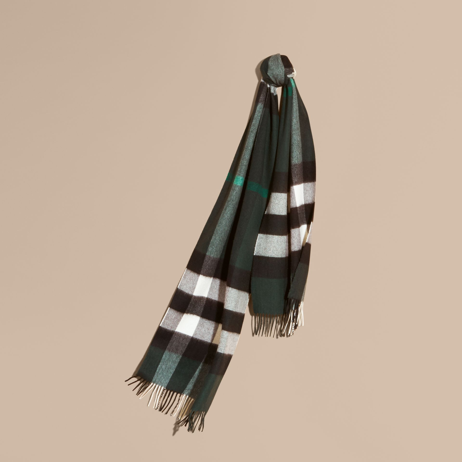The Large Classic Cashmere Scarf in Check Dark Forest Green - gallery image 6