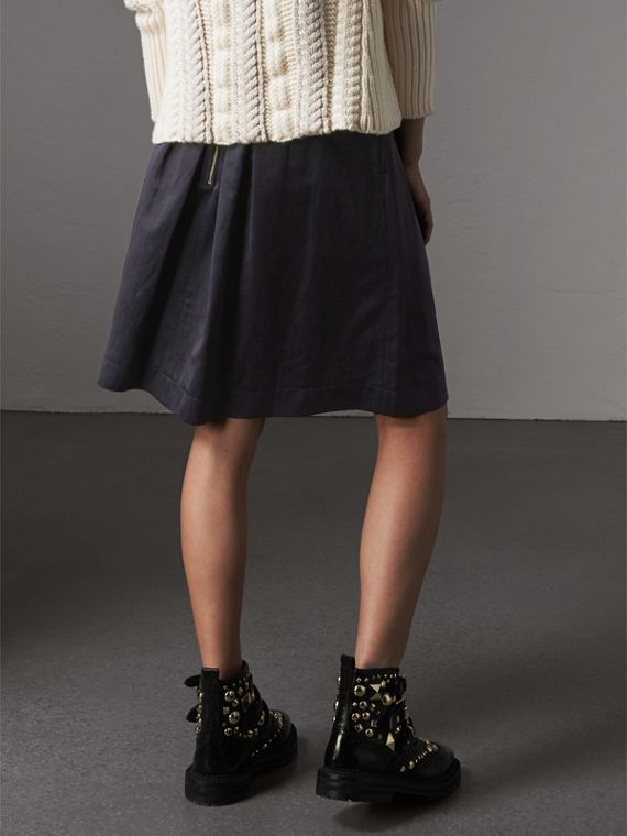 Pleated Linen Cotton Blend Skirt in Navy - Women | Burberry - cell image 2