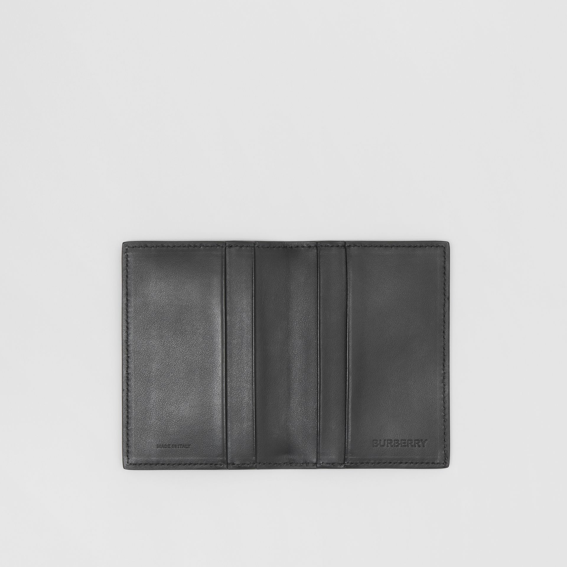 Monogram Leather Bifold Card Case in Black - Men | Burberry United States - gallery image 2