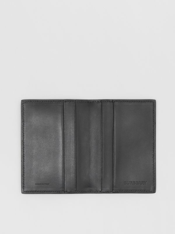 Monogram Leather Bifold Card Case in Black - Men | Burberry United States - cell image 2