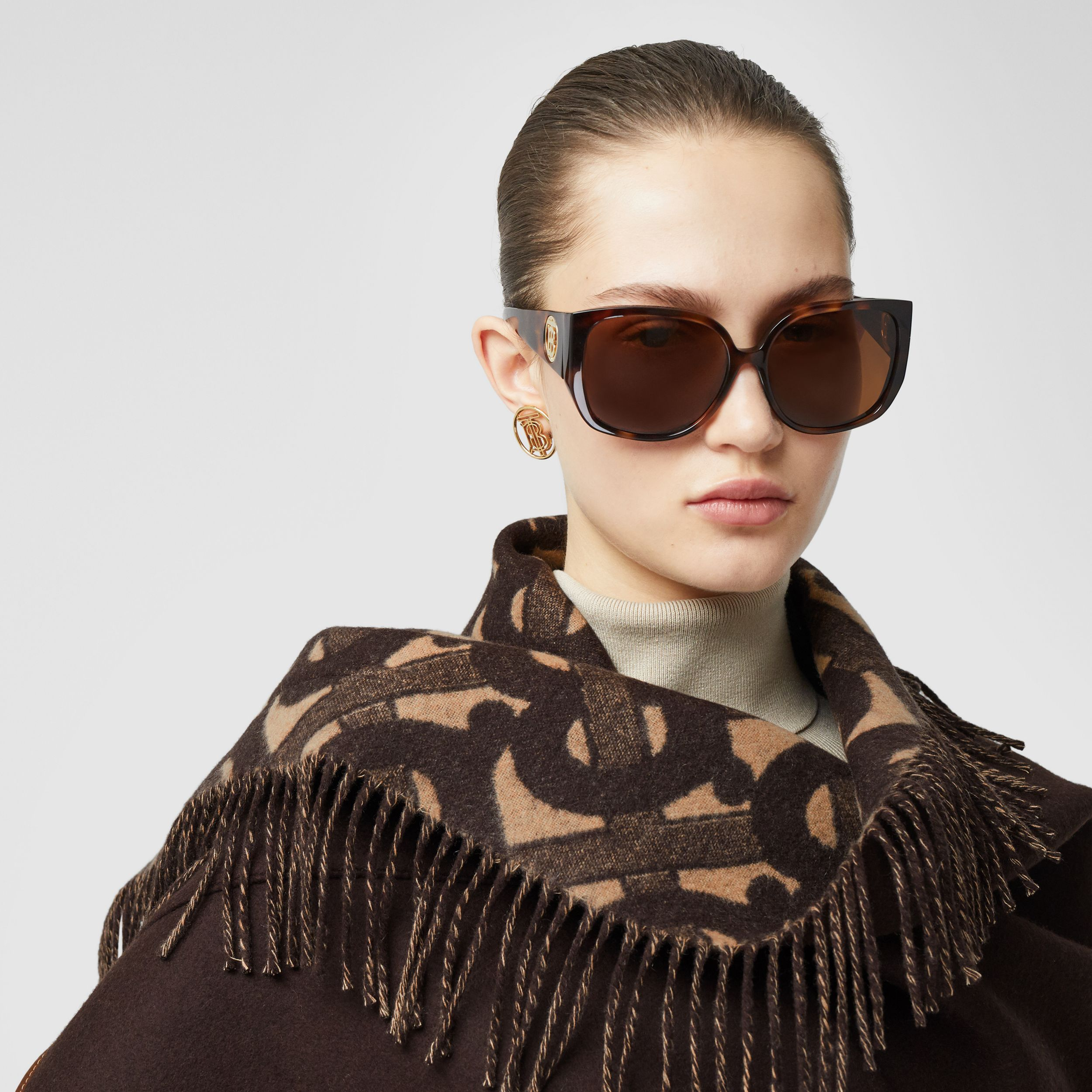Monogram Merino Wool Cashmere Jacquard Cape in Deep Brown - Women | Burberry - 2