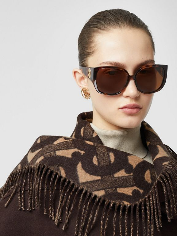 Monogram Merino Wool Cashmere Jacquard Cape in Deep Brown - Women | Burberry United Kingdom - cell image 1
