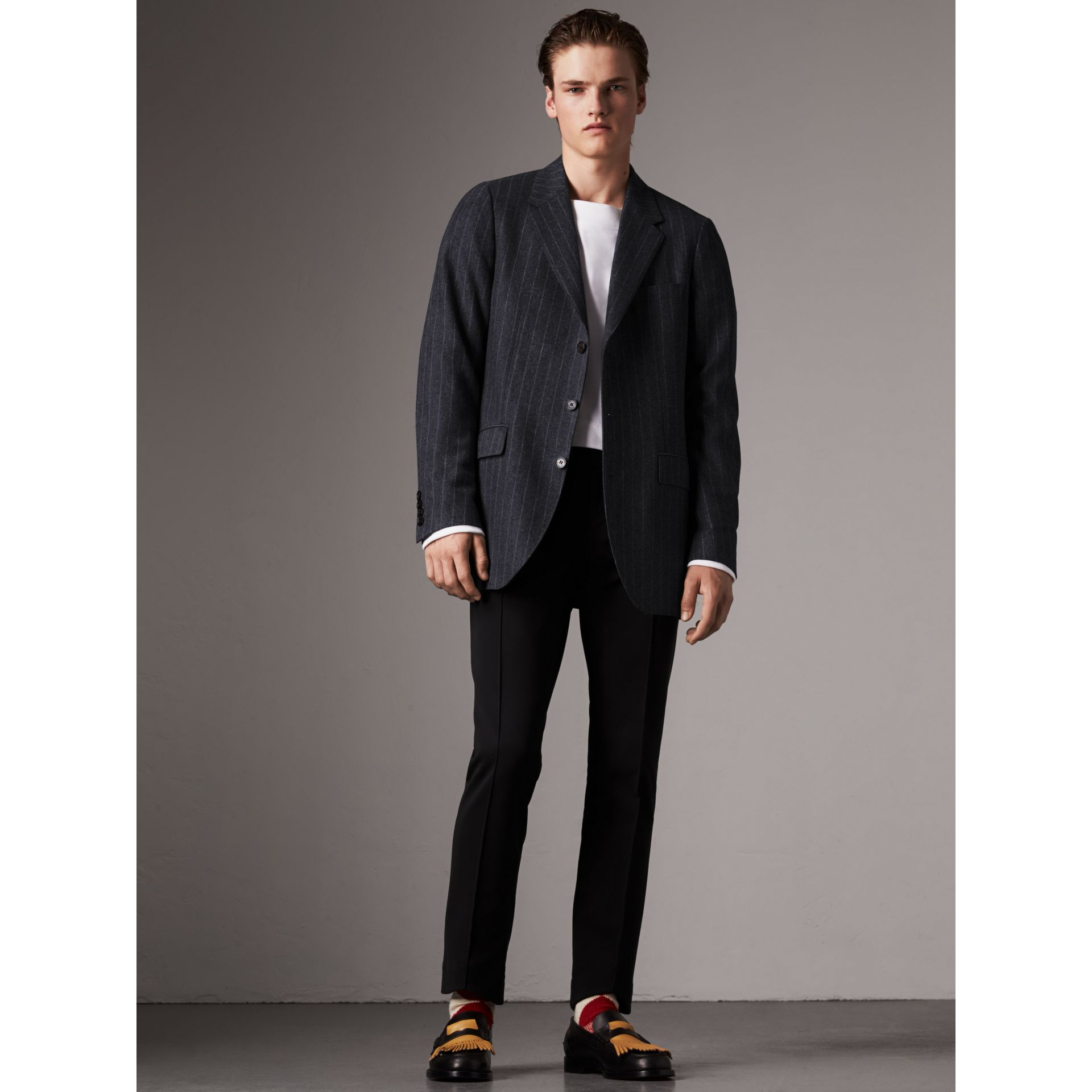 Pinstripe Wool Tailored Jacket in Navy - Men | Burberry Australia - gallery image 1