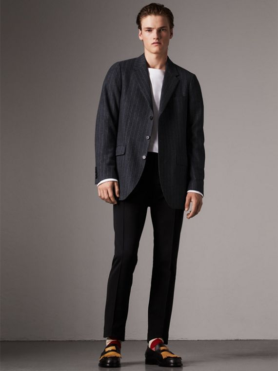 Pinstripe Wool Tailored Jacket in Navy