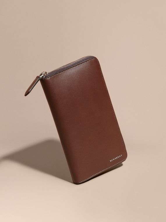 Smooth Leather Ziparound Wallet Sepia Brown