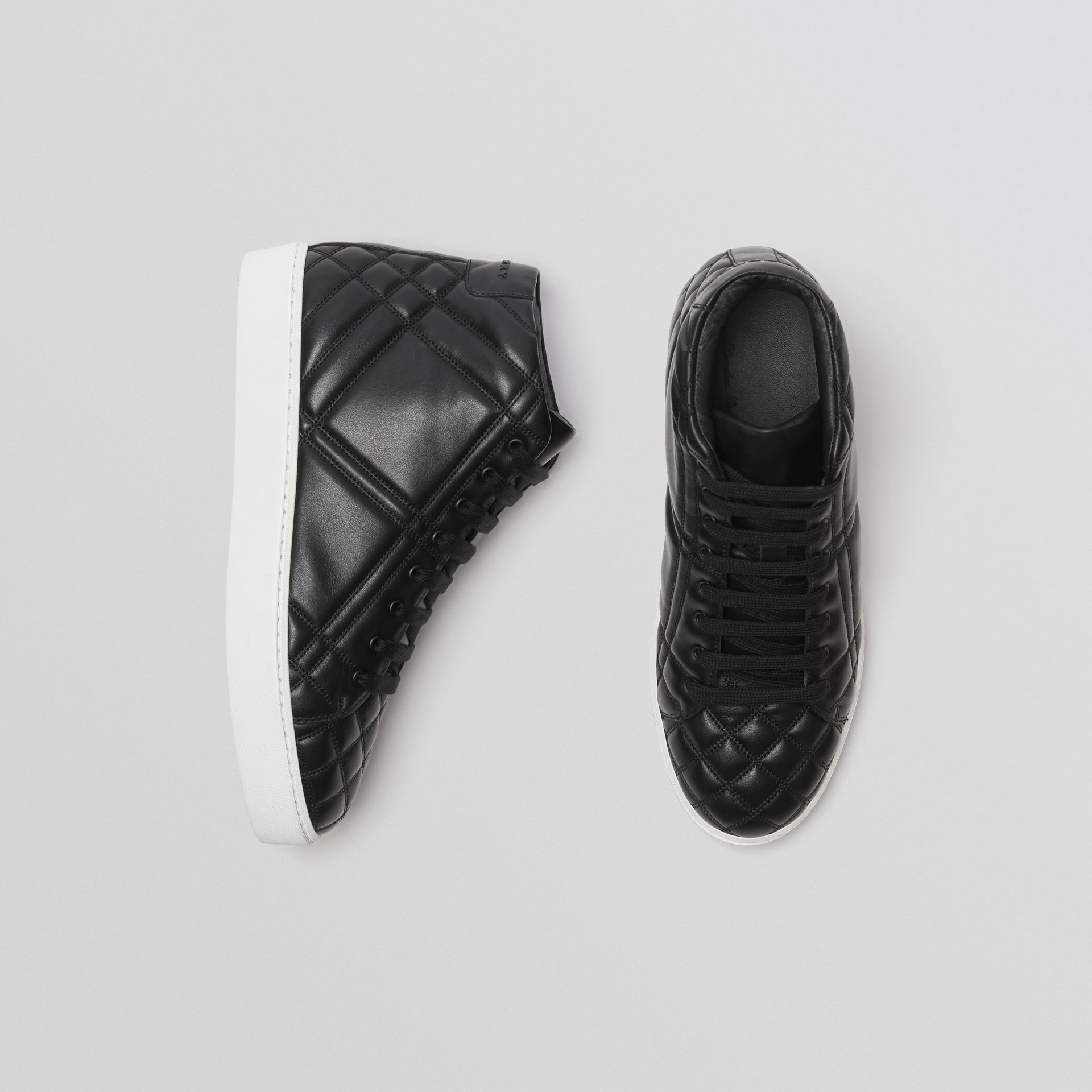 Check-quilted Leather High-top Sneakers in Black - Women | Burberry United Kingdom - gallery image 0