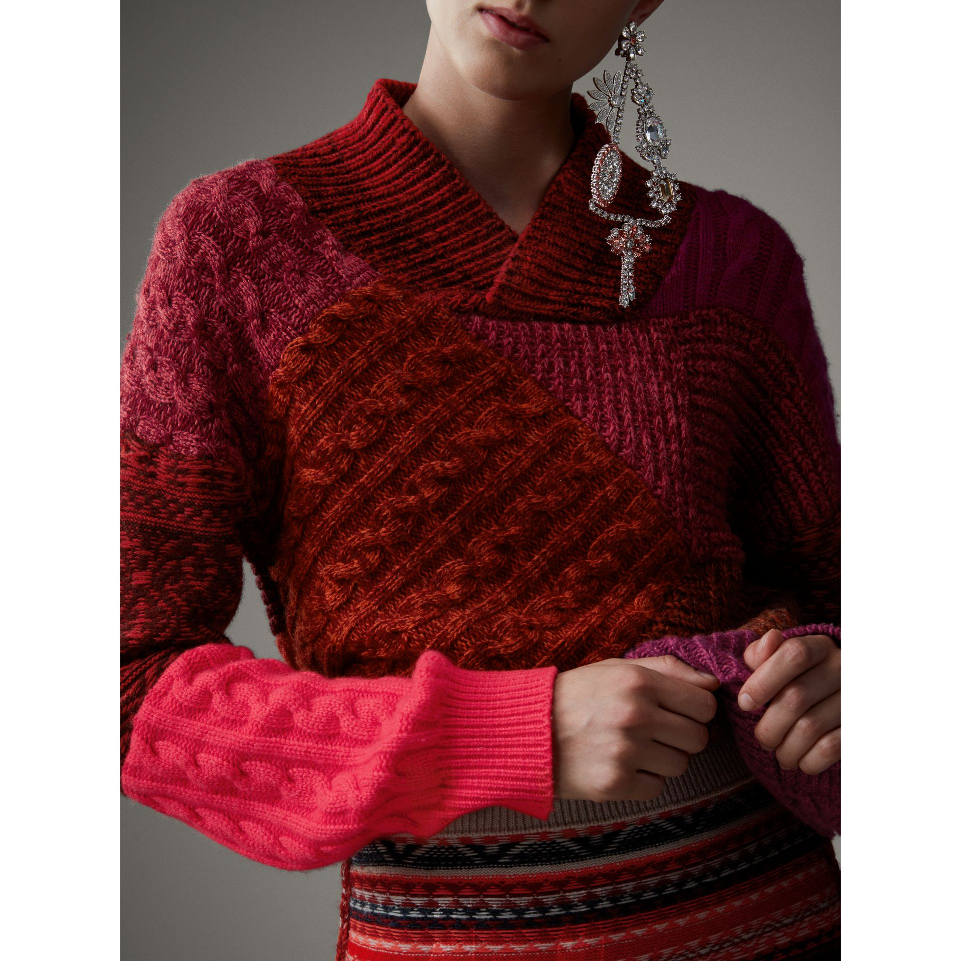 Cashmere Wool Patchwork Sweater in Berry Red - Women | Burberry Singapore - gallery image 2