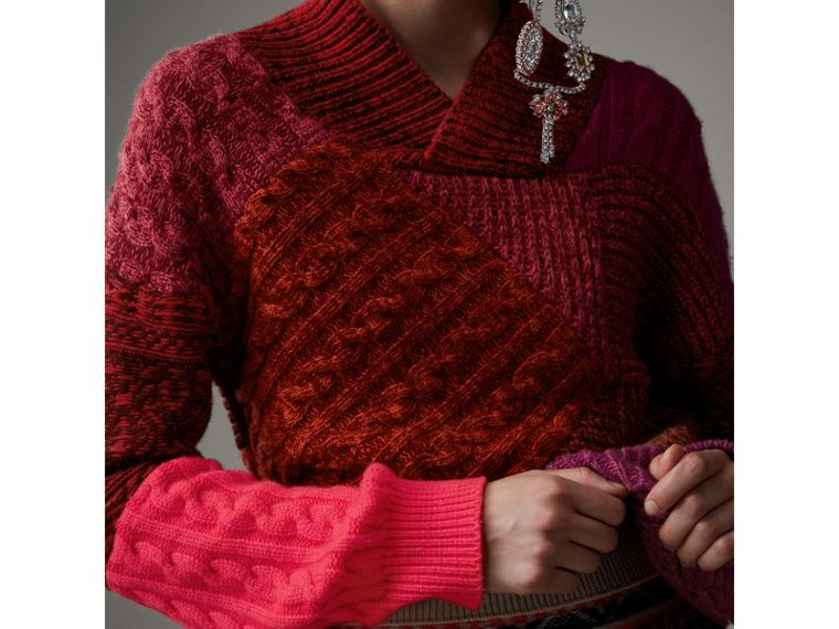 Cashmere Wool Patchwork Sweater in Berry Red - Women | Burberry - cell image 1