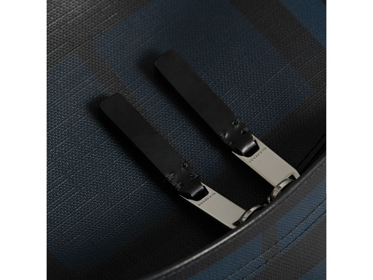 Leather Trim London Check Backpack in Navy/black - Men | Burberry Singapore - cell image 1