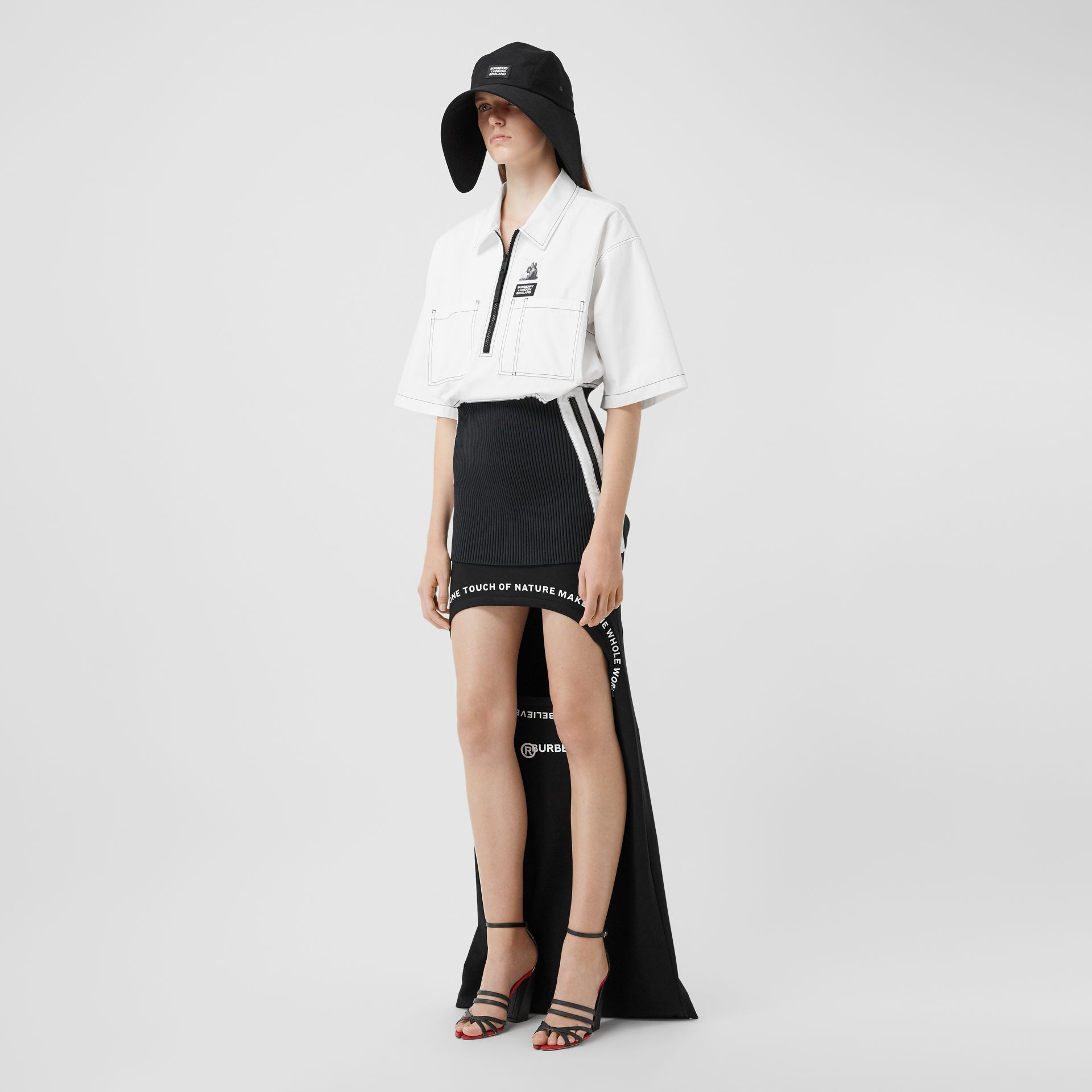 Montage Print Stretch Jersey Step-through Skirt in Black - Women | Burberry Canada - gallery image 0