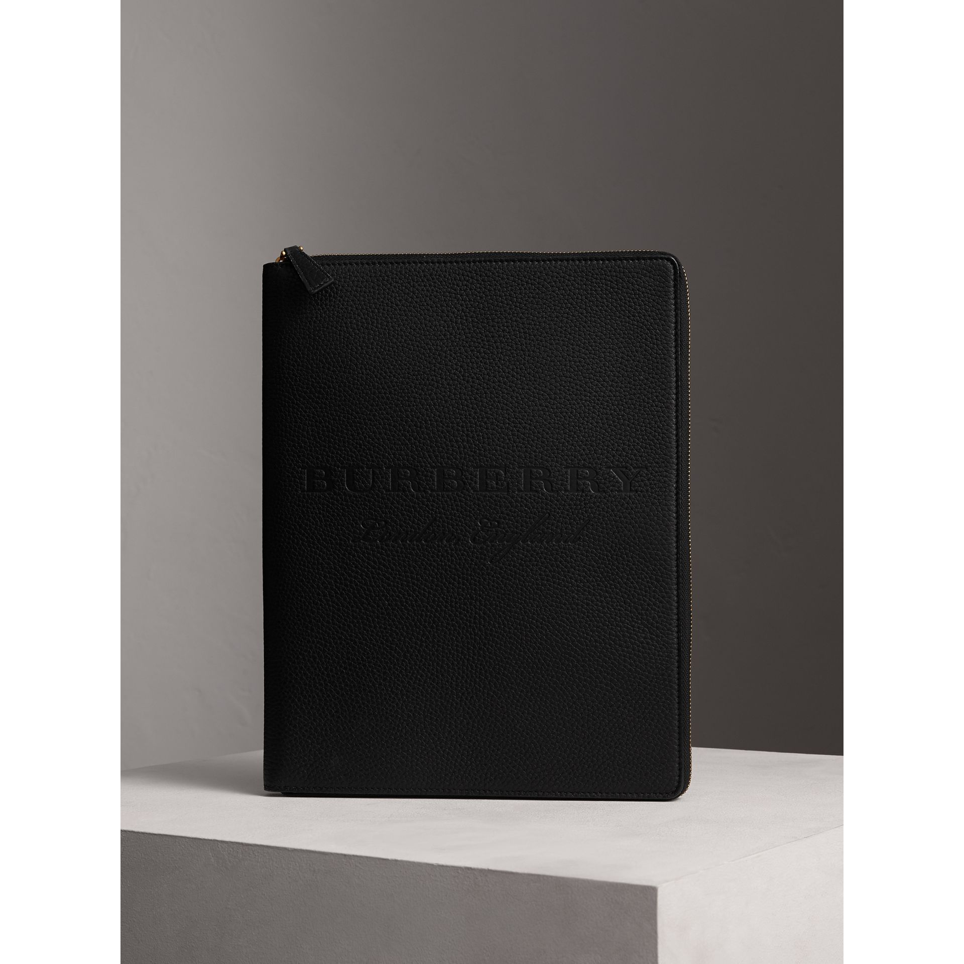 Embossed Grainy Leather Ziparound A4 Notebook Case in Black | Burberry - gallery image 4