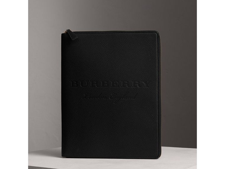 Embossed Grainy Leather Ziparound A4 Notebook Case in Black | Burberry - cell image 4