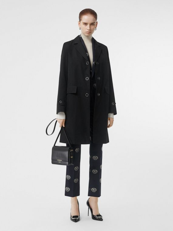 Press-stud Detail Cotton Gabardine Car Coat in Black
