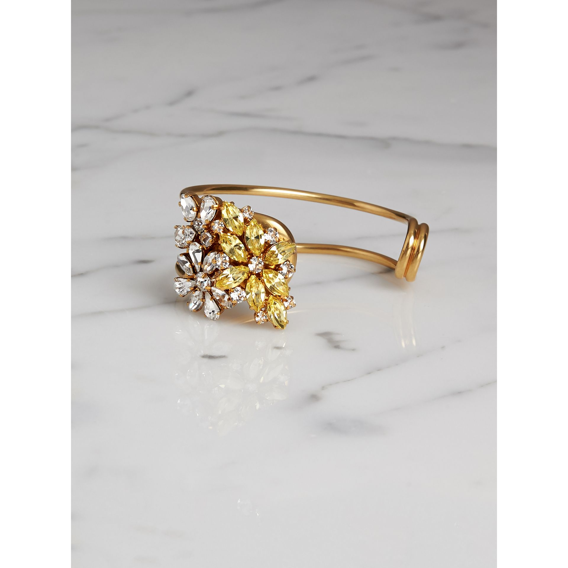 Crystal Daisy Brass Cuff in Iris Yellow - Women | Burberry - gallery image 1