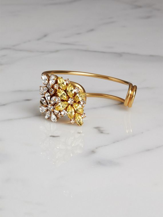 Crystal Daisy Brass Cuff in Iris Yellow