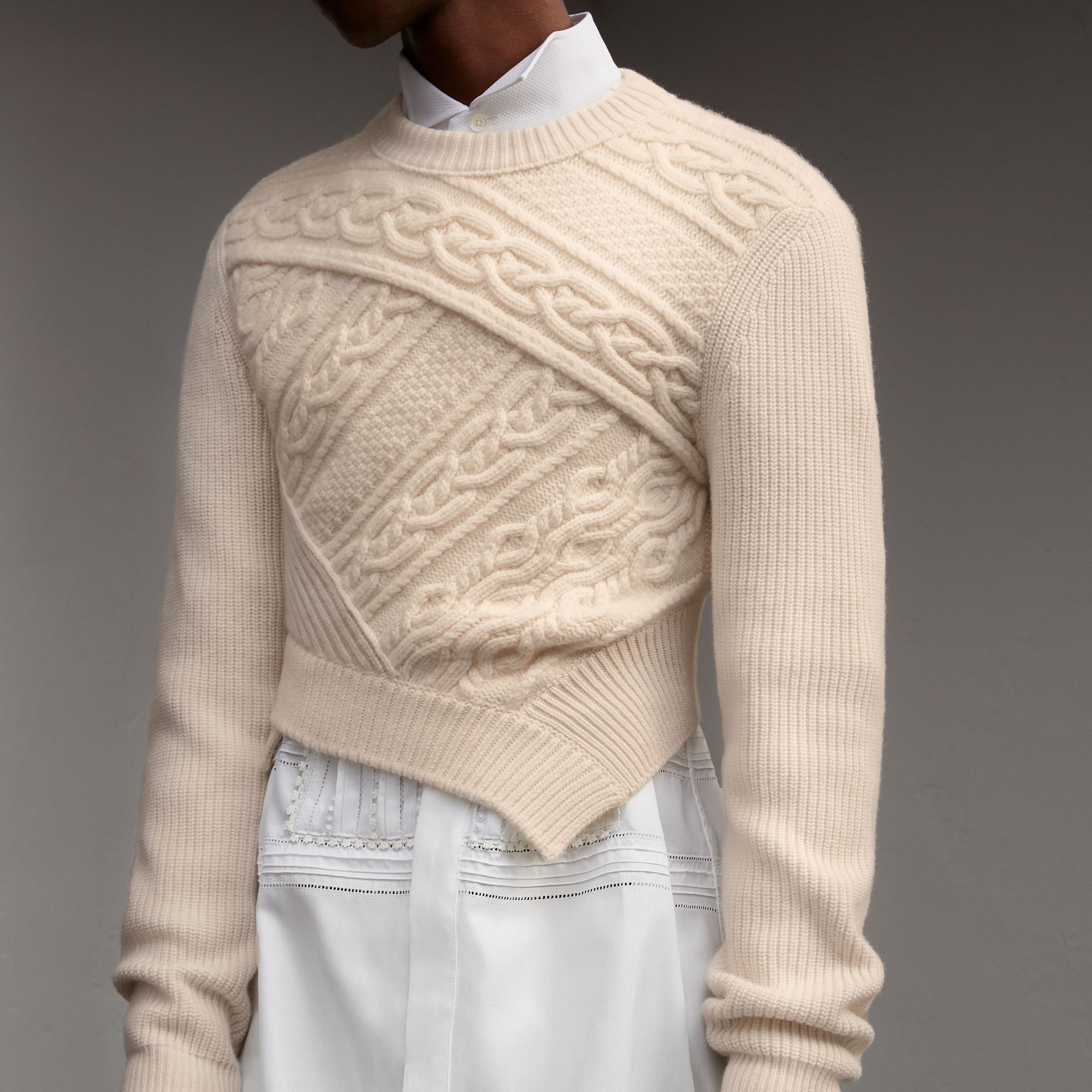 Cable Knit Cashmere Wool Cropped Sweater in Natural White - Men | Burberry United Kingdom - gallery image 5