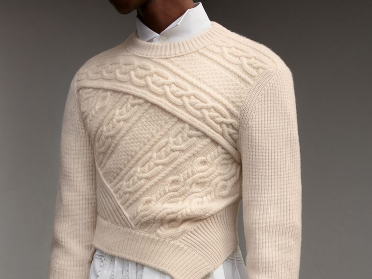 Cable Knit Cashmere Wool Cropped Sweater in Natural White - Men | Burberry United Kingdom - cell image 4