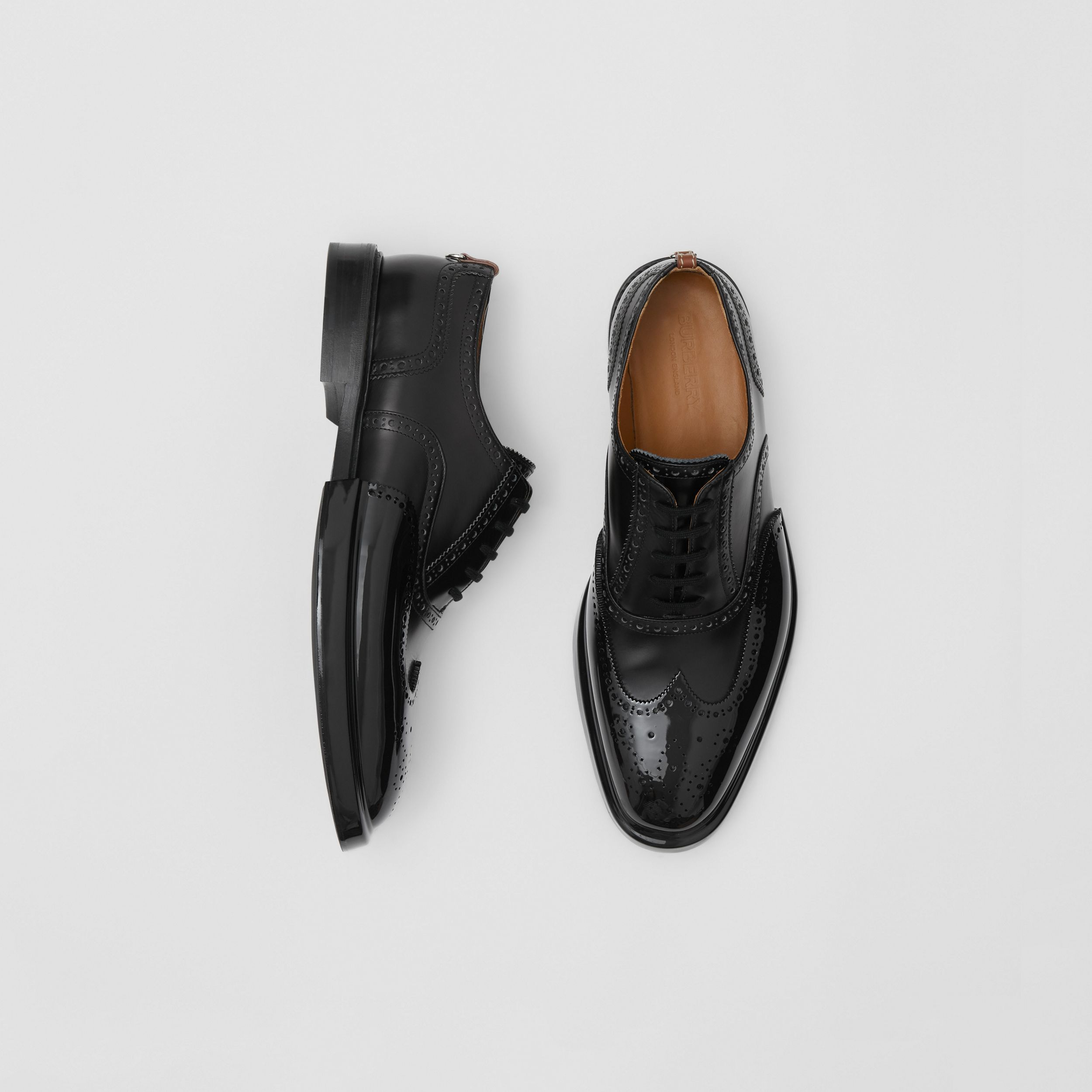 Toe Cap Detail Leather Oxford Brogues in Black - Men | Burberry - 1