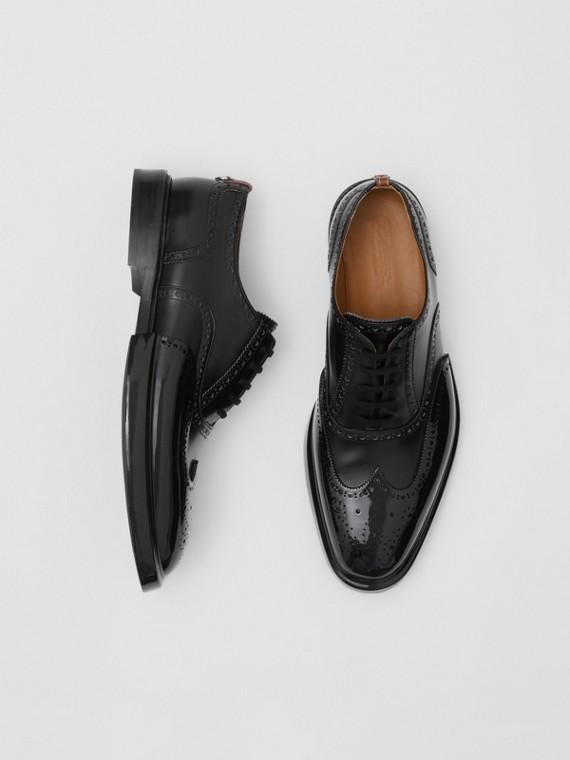 鞋頭蓋細節皮革牛津布洛克鞋 (黑色)