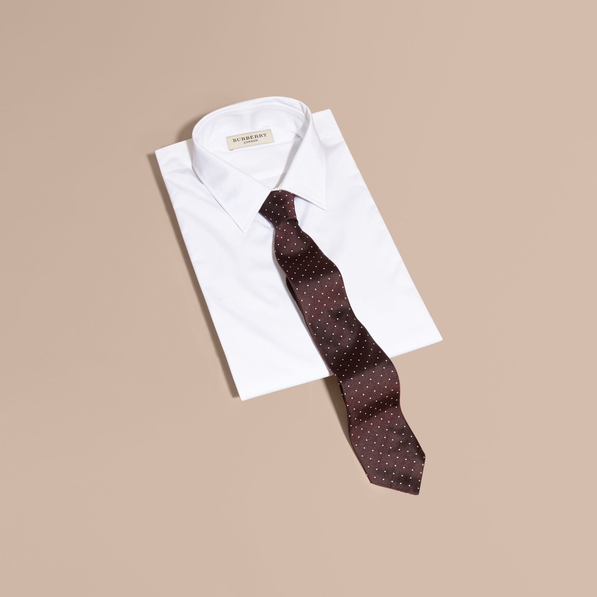 Modern Cut Polka Dot Silk Twill Tie - Men | Burberry - gallery image 4