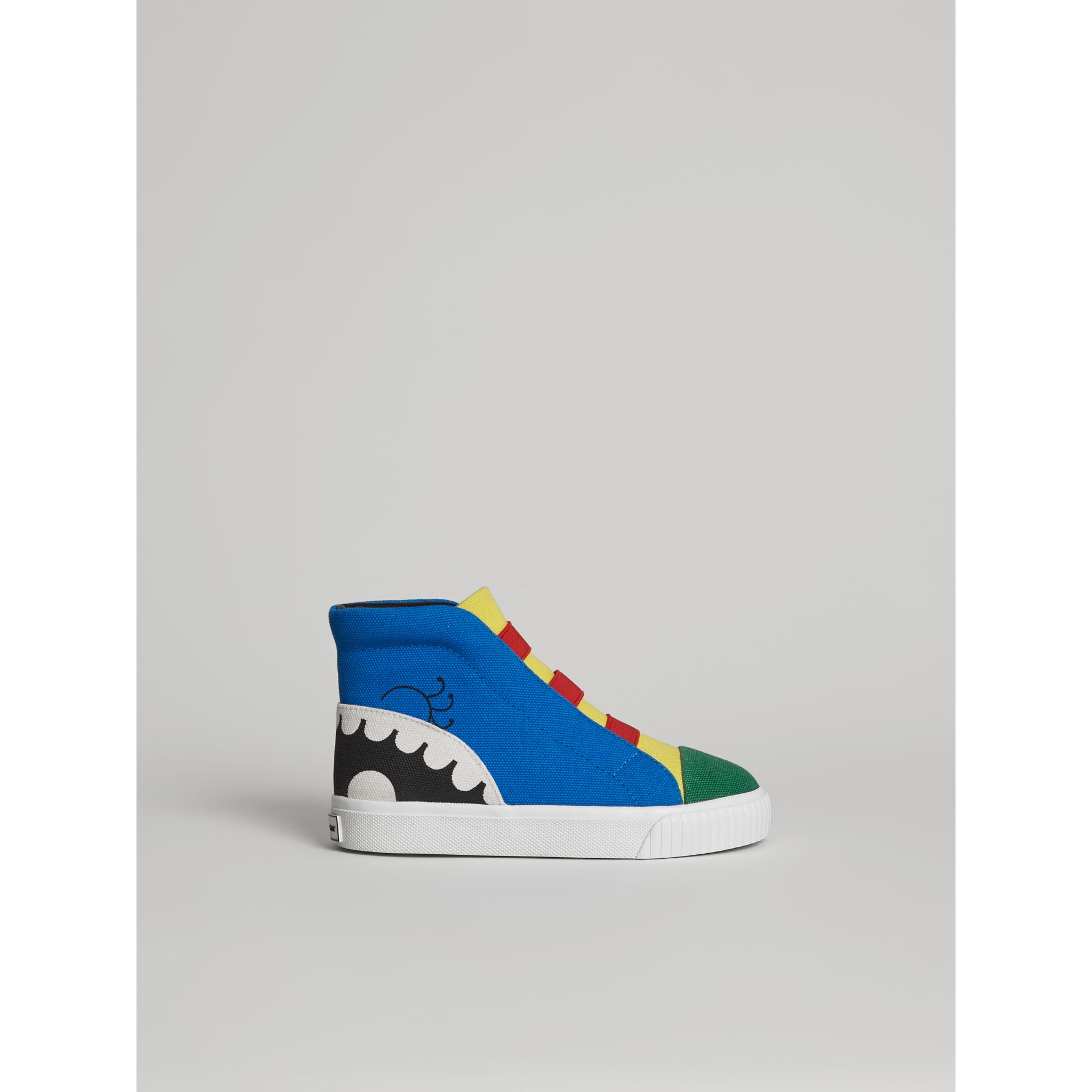 Monster Graphic High-top Sneakers in Bright Sky Blue | Burberry Canada - gallery image 3