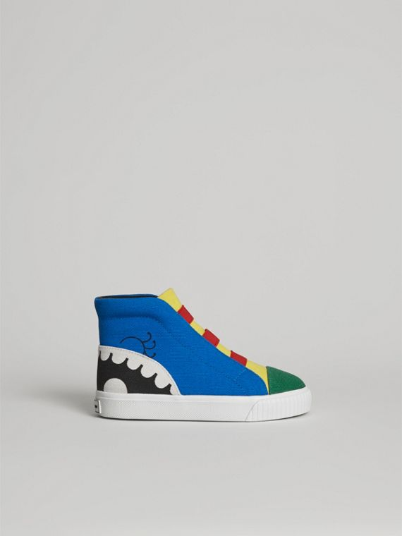 Monster Graphic High-top Sneakers in Bright Sky Blue | Burberry - cell image 3