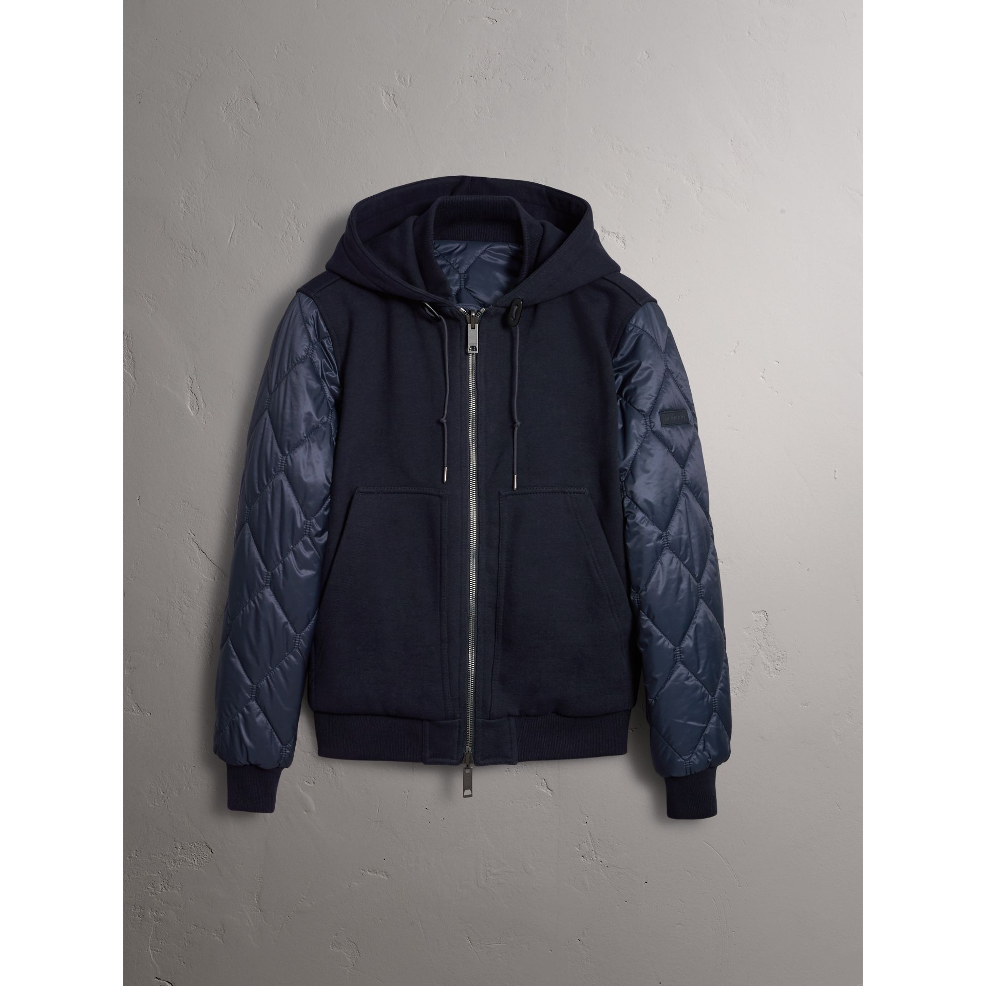 Reversible Quilted Cotton Hooded Bomber Jacket in Navy - Men | Burberry Singapore - gallery image 3