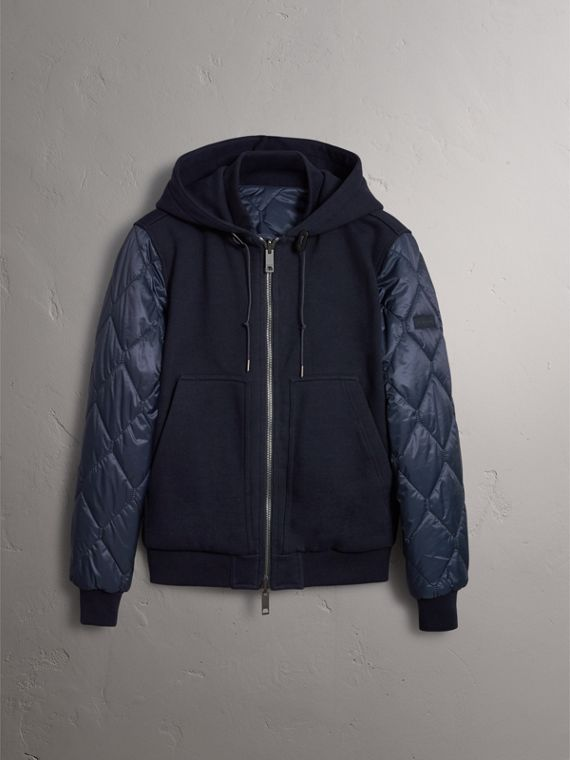 Reversible Quilted Cotton Hooded Bomber Jacket in Navy