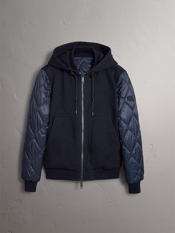 Reversible Quilted Cotton Hooded Bomber Jacket in Navy - Men | Burberry - cell image 3