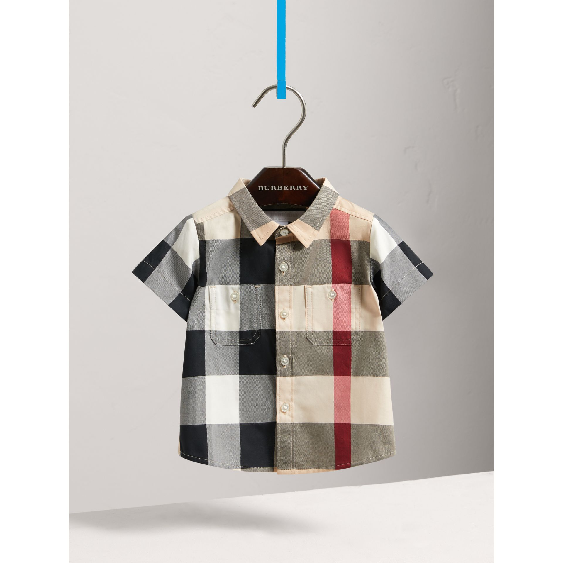 Short-sleeve Check Cotton Shirt in New Classic - Children | Burberry - gallery image 2