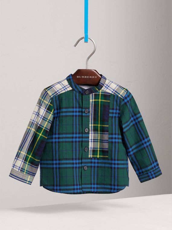 Panelled Tartan and Check Cotton Poplin Shirt in Forest Green