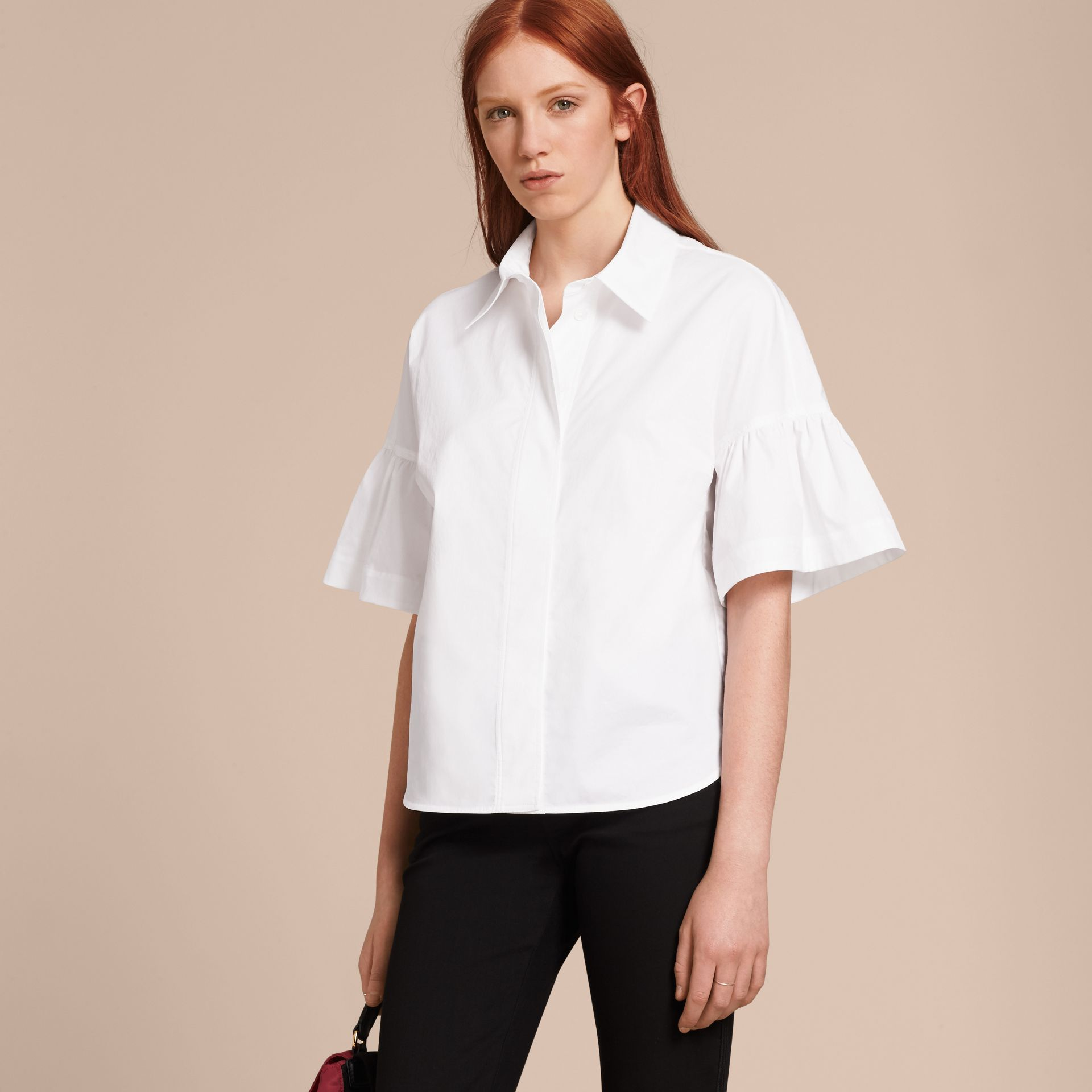 White Stretch Cotton Shirt with Ruched Sleeves White - gallery image 6