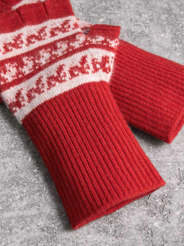 Fair Isle Wool-cashmere Blend Gloves in Military Red | Burberry - cell image 2
