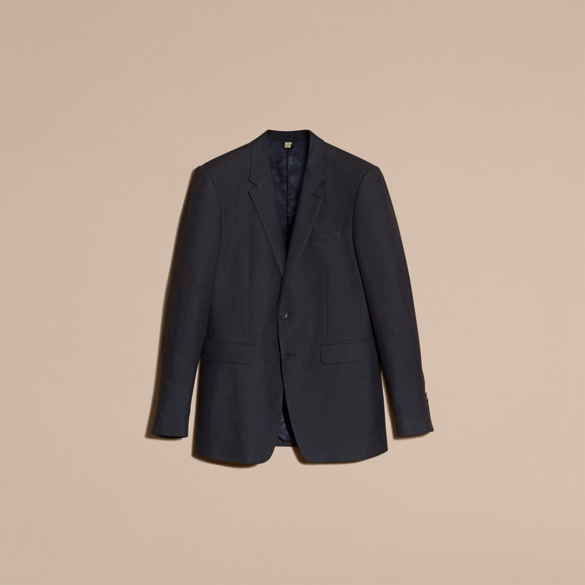 Dark navy Modern Fit Linen Wool Silk Jacket - gallery image 4