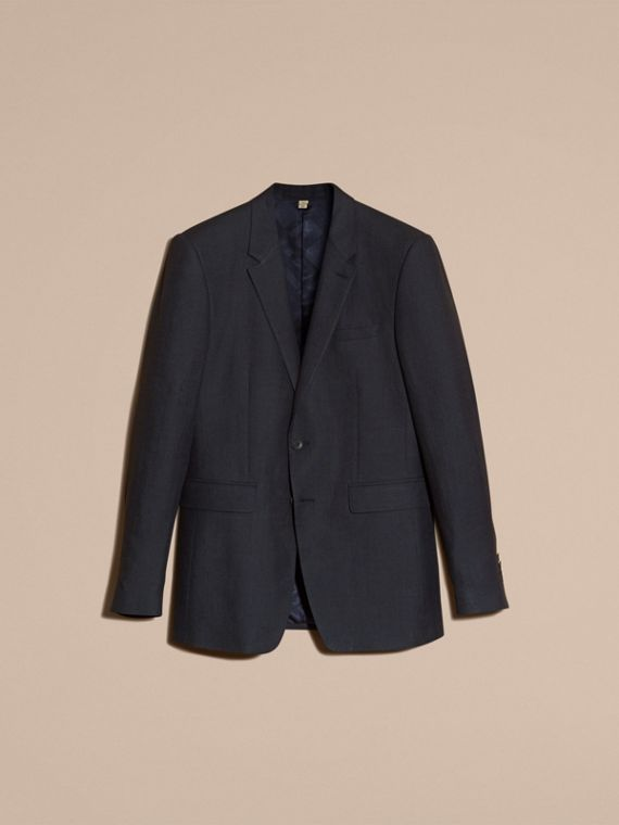 Dark navy Modern Fit Linen Wool Silk Jacket - cell image 3