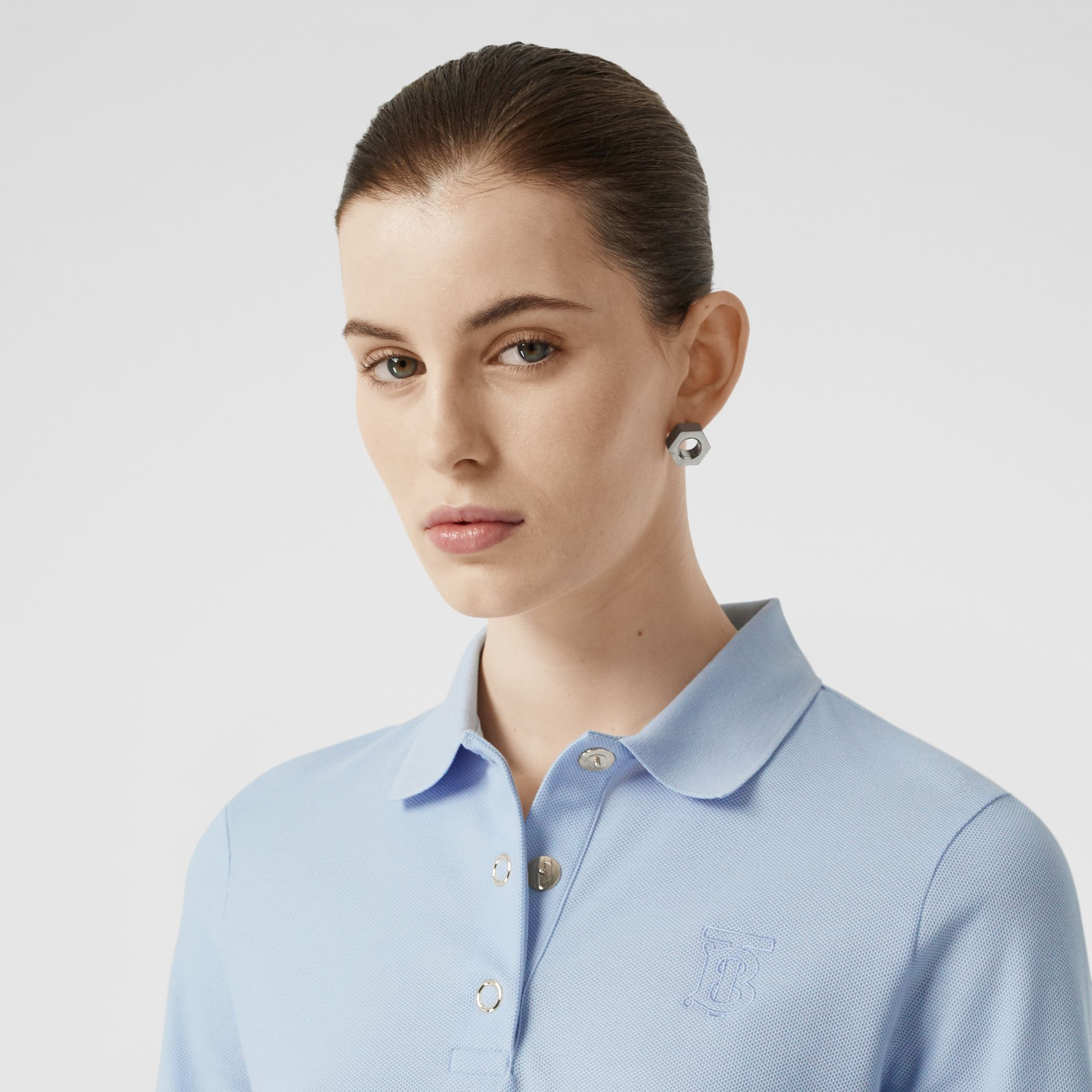 Monogram Motif Cotton Piqué Polo Shirt in Pale Blue - Women | Burberry - gallery image 1