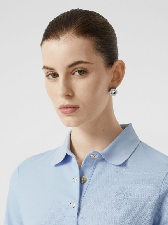 Monogram Motif Cotton Piqué Polo Shirt in Pale Blue - Women | Burberry - cell image 1