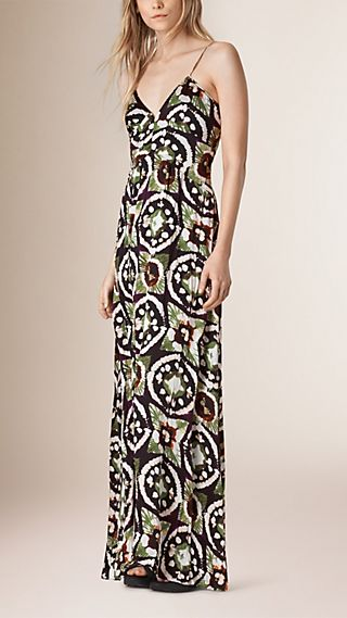 Tie-dye Print Long Empire Line Silk Dress